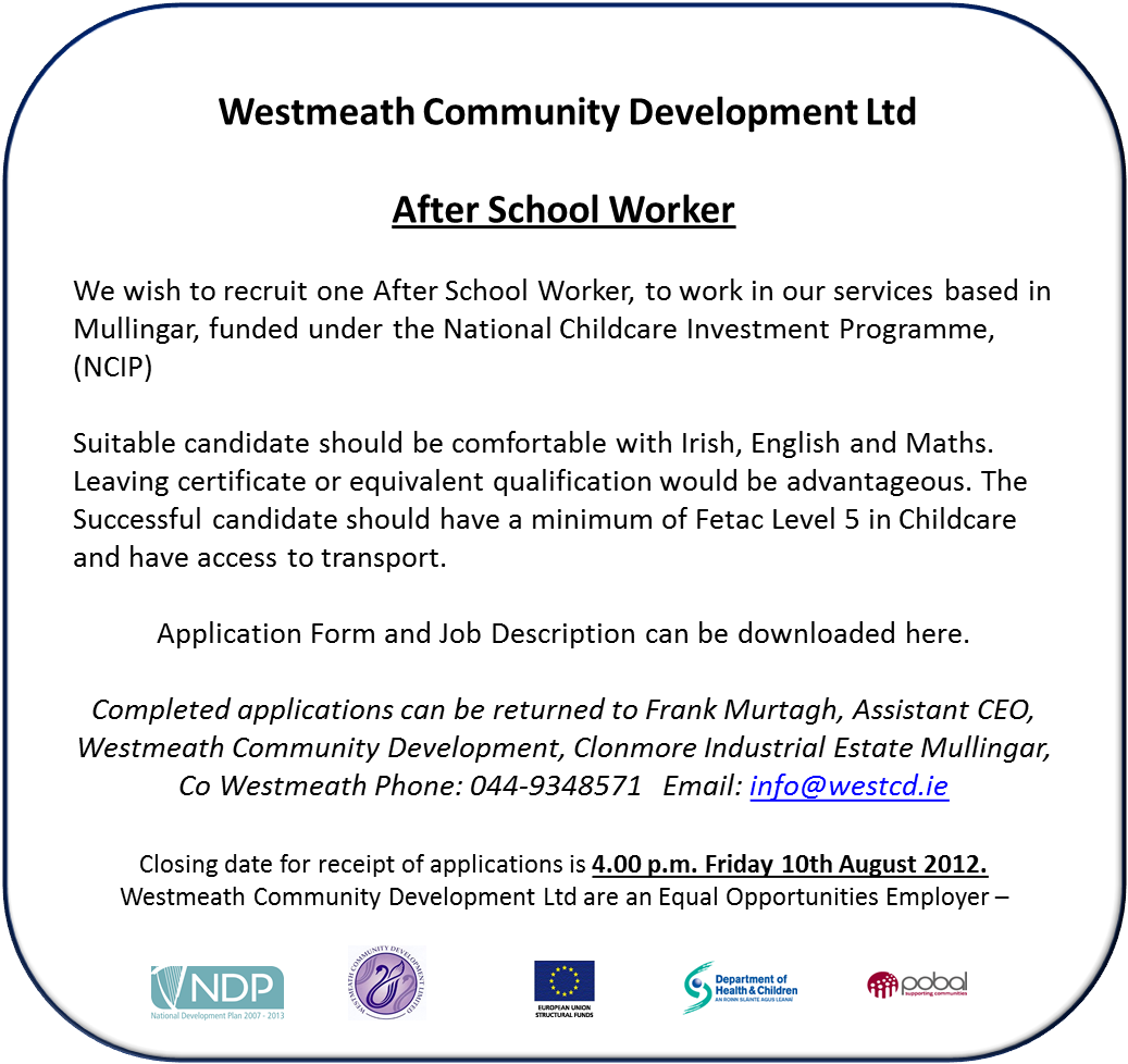 Employment Opportunity - After School Worker